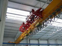 Mostové jeřáby GIGA - mostový jeřáb jednonosníkový, s konzolovým kladkostrojem, s lanovou stabilizaci na magnetové traverse