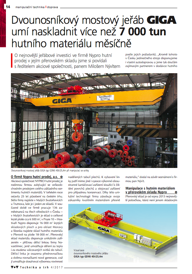 Article about double girder bridge crane of Giga, the Technika a Trh magazine
